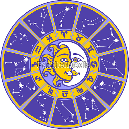 astrology horoscope wheel stars constellations sun