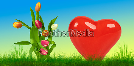 colorful easter background with a heart