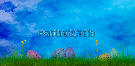 colorful art easter background with easter
