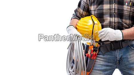 electrician with tool belt on a
