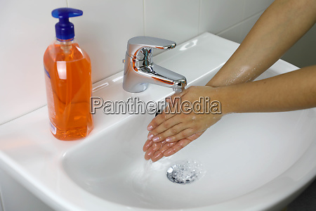 covid 19 hygiene concept washing hands