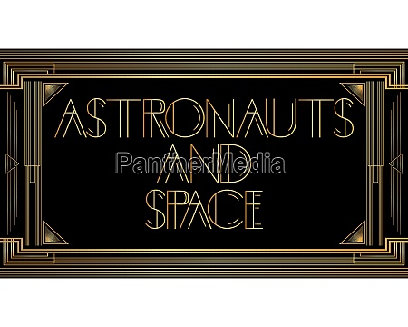 golden decorative astronauts and sapce sign