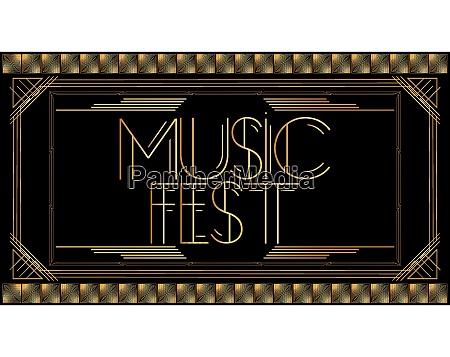 golden decorative music fest sign with