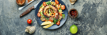 vegetable salad with octopus