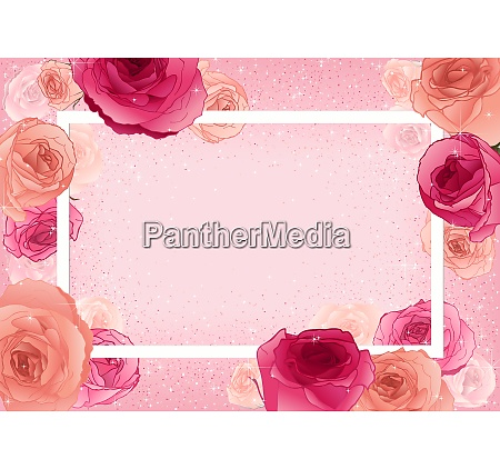 greeting card with roses on pastel