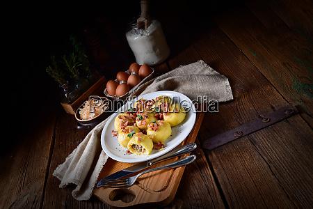 polish dumplings with meat and mushroom