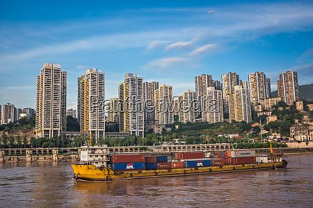 cargo ship arriving in chongqing city