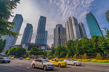 taxis and cars in chongqing city