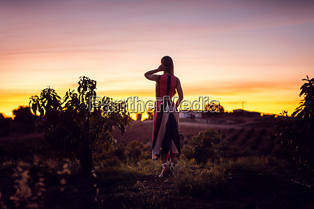 woman watching the afterglow in an