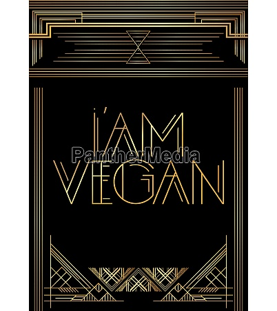 golden decorative iam vegan sign with