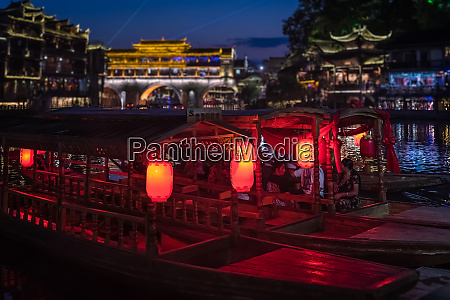lanterns on boats in fenghuang