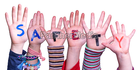 children hands building word safety isolated