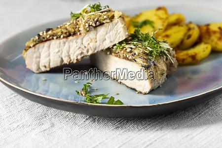 grilled pork steak on a plate