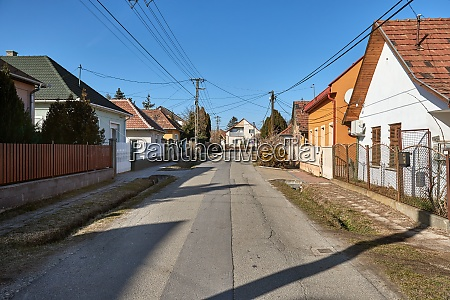 village street with houses
