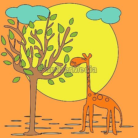 postcard with giraffe illustration for print