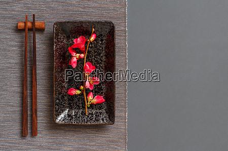 chopsticks, , rectangular, plate, and, pink, flowers - 28196511