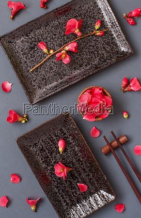chopsticks, , rectangular, plates, and, pink, flowers - 28196510