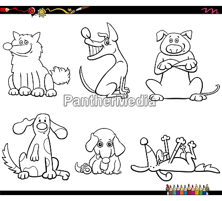 cartoon dogs characters set color book