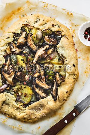 mushroom potato leek and onion galette