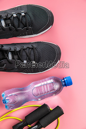 black sport shoes jump rope and