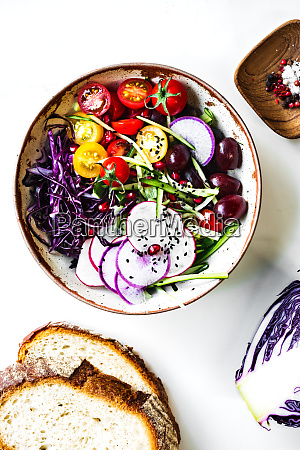 grape with red cabbage cucumber and