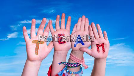 children, hands, building, word, team, , blue - 28199020