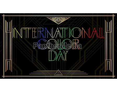 golden decorative international color day sign