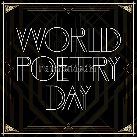 golden decorative world poetry day sign