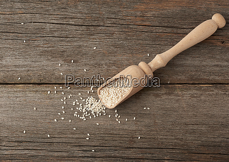 dry white sesame seeds in a