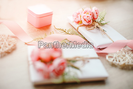 gift boxes wrapped with simple white