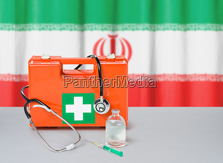 first aid kit with stethoscope and