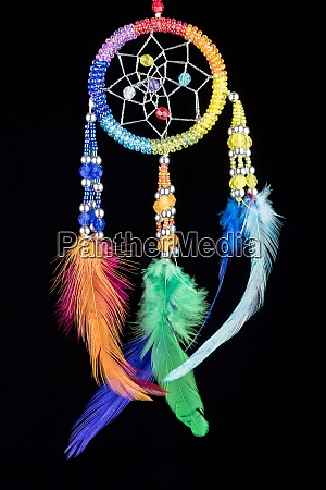 pearl embroidered dream catcher with colorful