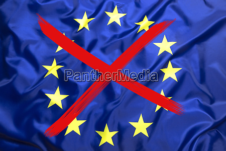 crossed out flag of european union