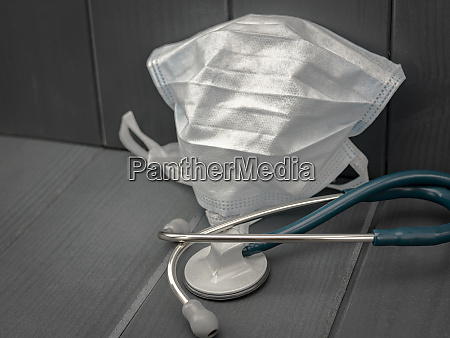 stethoscope and face mask to protect