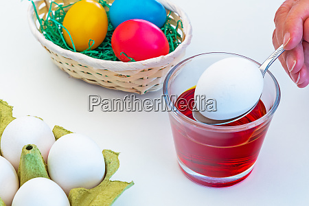 dyeing and decorating easter eggs