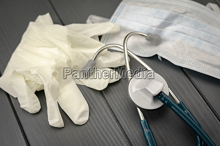 stethoscope latex gloves and protective mask