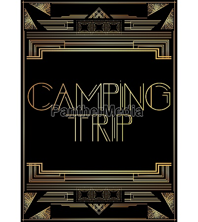 golden decorative camping trip sign with