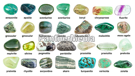 collage of various green gemstones with