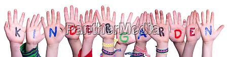 children hands building word kindergarden isolated