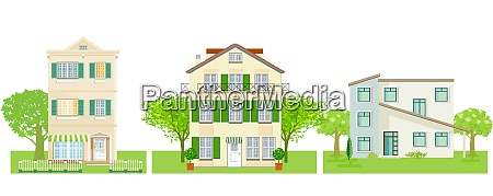 a group of different houses vector