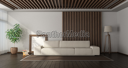 minimalist living room with wooden paneling