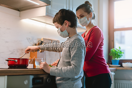 family cooking at home during coronavirus