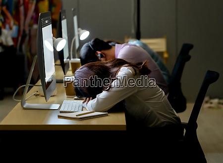 call center team night working nap