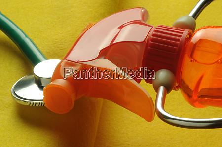 liquid detergent bottle with stethoscope
