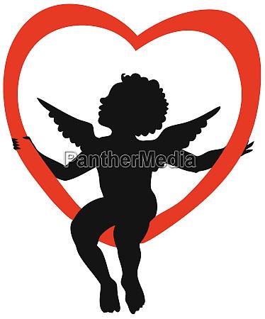 angel, cupid, seated, heart, silhouette, illustration - 28215332