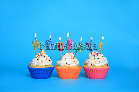 birthday, cupcakes, with, candles, that, say - 28215567