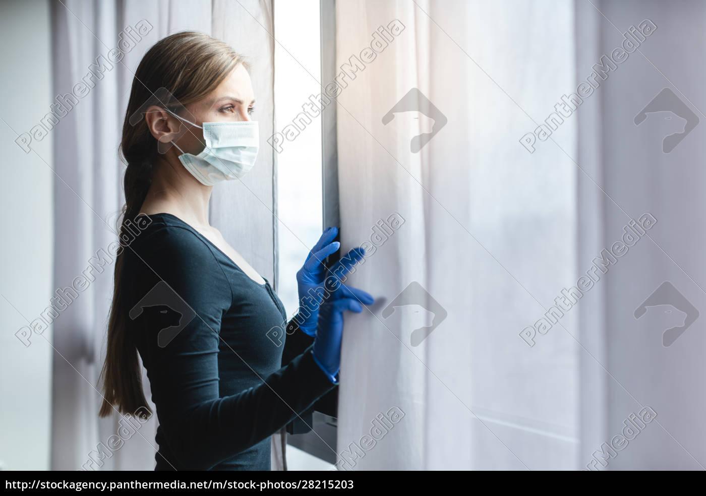 bored, woman, in, corona, quarantine, looking - 28215203