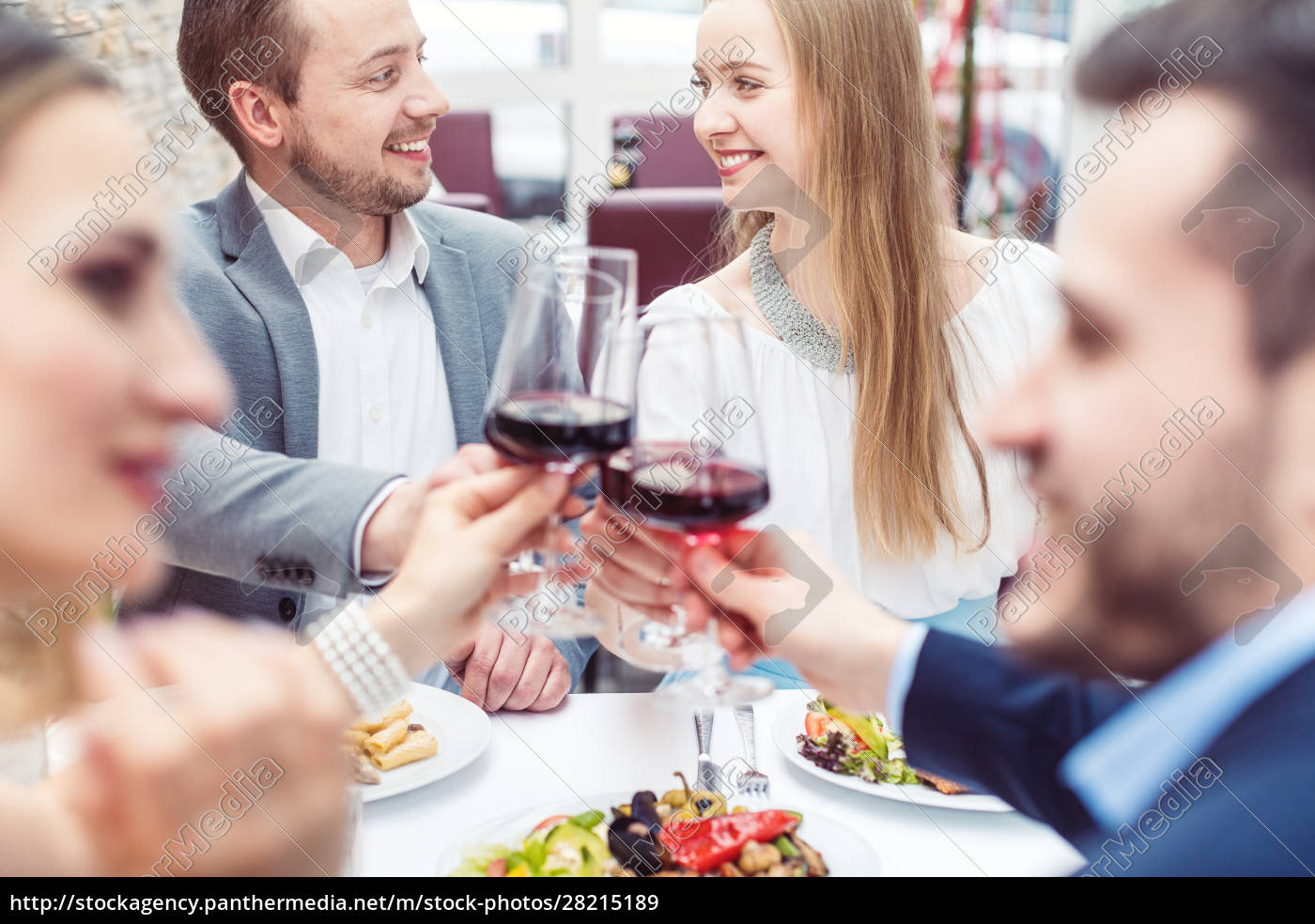 cheerful, people, enjoying, drink, and, food - 28215189