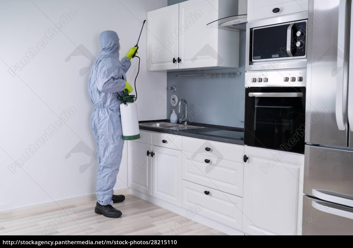 exterminator, in, spraying, pesticide, in, kitchen - 28215110