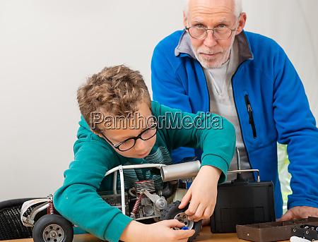 grandpa, and, son, little, boy, repairing - 28215165